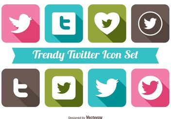 Trendy Twitter Icon Set - vector #141129 gratis