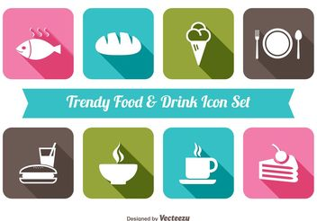 Trendy Food Drink Icon Set - vector gratuit #141139