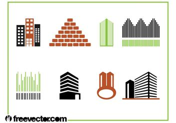 Buildings Icon Set - vector gratuit #141169