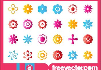 Flower Blossoms Icon Set - vector gratuit #141219