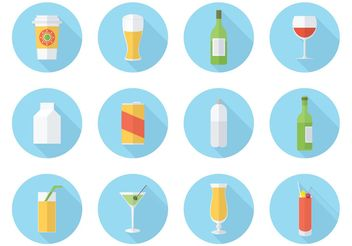 Free Flat Drink Vector Icon Set - vector gratuit #141299
