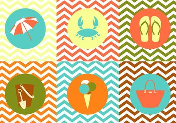 Collection of Summer Objects on Zig Zag Multicolor Background - Free vector #141349