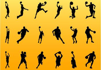 Basketball Player Silhouettes - Free vector #141399