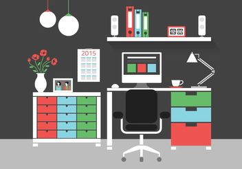 Free Modern Home Office Interior Vector Icons - vector #141649 gratis