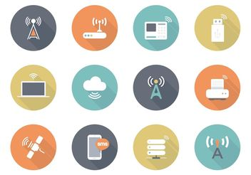 Free Flat Wireless Vector Icons - Free vector #141849