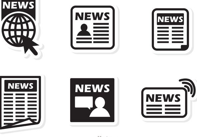 Black Icons News Vector - Free vector #141879