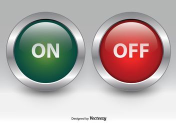 On and Off Chrome Buttons - vector gratuit #141919