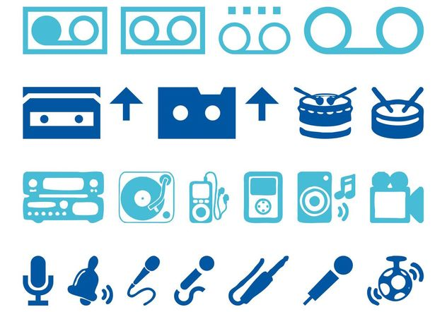 Audio Icons Set - Free vector #142059