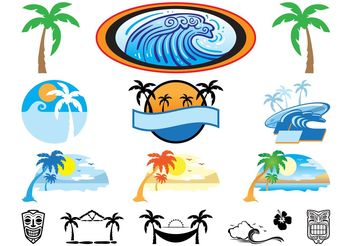 Hawaii Icons Set - Free vector #142129