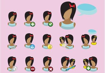 Girls Icons - vector gratuit #142269