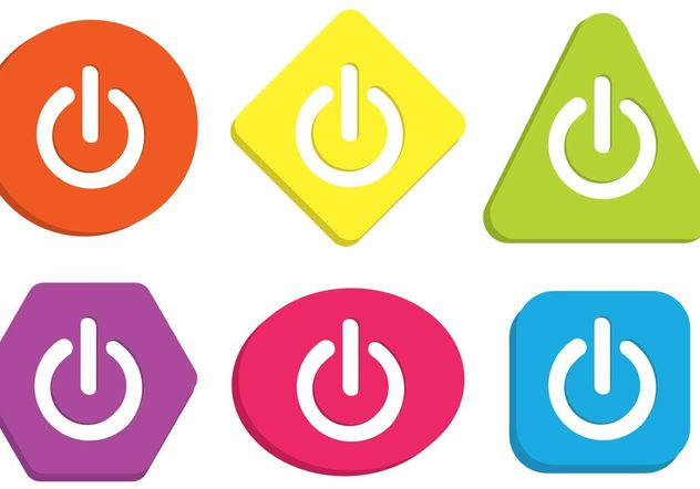 Colorful On Off Button Vectors - Kostenloses vector #142309