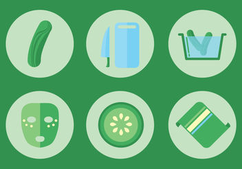 Cucumber Facial Vector Icon Set - Free vector #142389