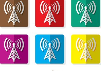 Square Cell Tower Icons - vector gratuit #142409