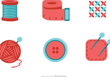Sewing And Needlework Flat Icons Vector - бесплатный vector #142579