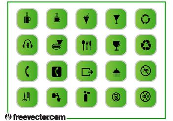 Green Icons Graphics Set - vector #142669 gratis