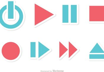 Media Player Button Vectors - бесплатный vector #142729