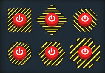 Caution On Off Button Vectors - vector gratuit #142749