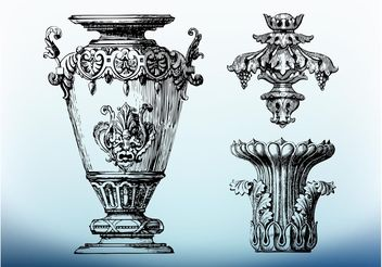 Antique Ornaments Vector - vector gratuit #143029