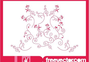 Decorative Floral Scrolls Vector - Free vector #143409