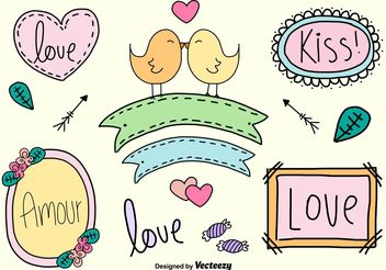 Hand Drawn Love Signs - vector gratuit #143449