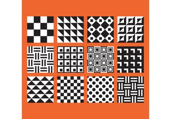 Simple B&W Patterns - Free vector #143629