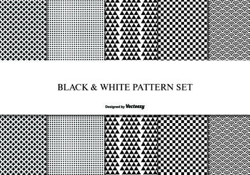 Black and White pattern Set - Free vector #144099