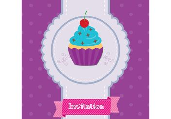 Cupcake Invitation Vector - Free vector #145039