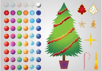 Christmas Tree Decorations - Free vector #145049