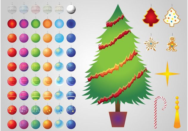 Christmas Tree Decorations - Kostenloses vector #145049
