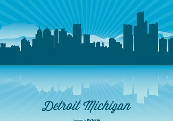 Detroit Skyline Illustration - vector gratuit #145479