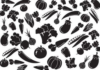 Black White Vegetables Pattern Vector - vector gratuit #145559