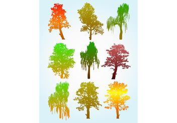 Colorful Tree Silhouette Graphics - Free vector #145759