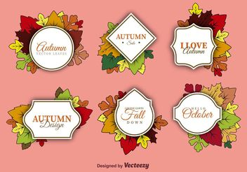 Autumn Label Vectors - Free vector #146049