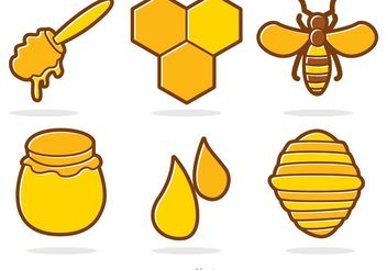 Honey And Bee Cartoon Vector - бесплатный vector #146179