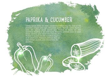 Free Vector Drawn Cucumber And Paprika - бесплатный vector #146219