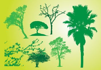 Tree Bush Silhouettes - vector gratuit #146239