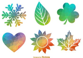 Polygonal Geometric Seasonal Icon Vector Set - vector gratuit #146589