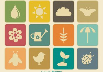 Vintage Spring Vector Icon Set - Free vector #146619