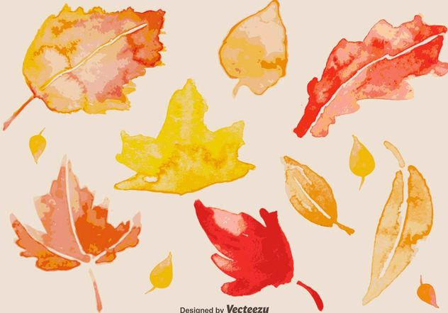 Watercolour Autumn Leaves - Free vector #146639