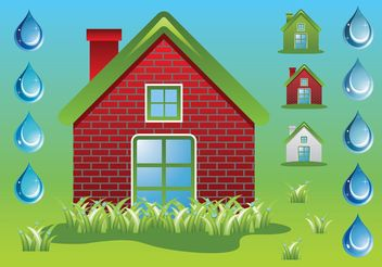 Green Home Ecology Vectors - Free vector #146729