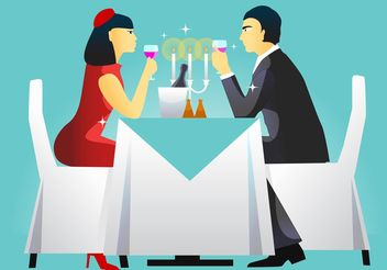 Dinner Table Setting Vector - Free vector #146759