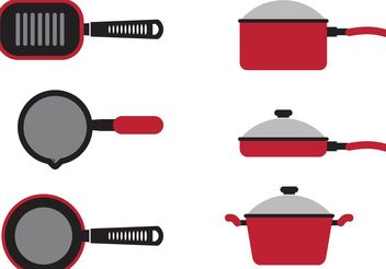 Red Cooking Pan Vectors - бесплатный vector #146829