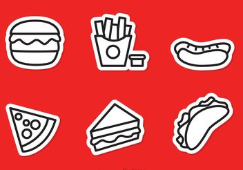 Fast Food Outline Icons Vector - Free vector #146889