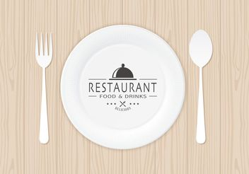 Free Restaurant Logo On Paper Plate Vector - Free vector #146899