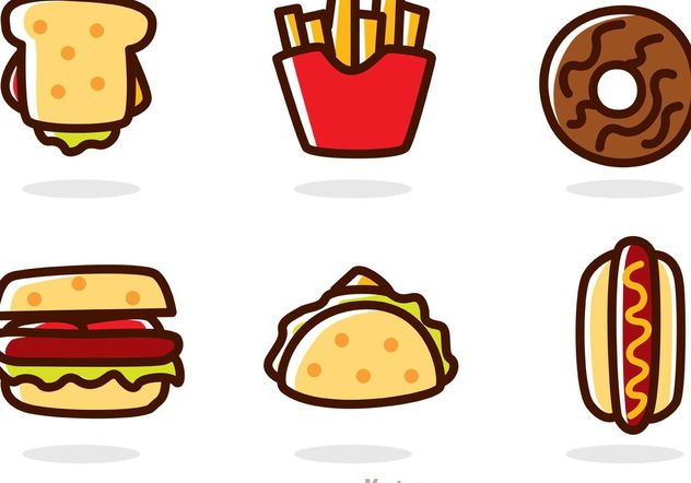 Cartoon Fast Food Vectors - Free vector #146959