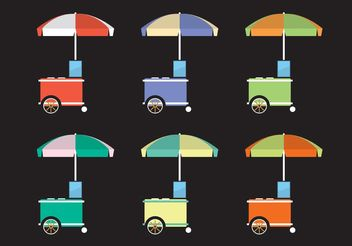 Colorful Food Cart Vectors - vector gratuit #146999