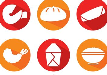 Vector Chinese Food Long Shadow Icons - Free vector #147159