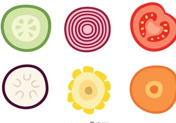 Slice Of Vegetable Vector Icons - бесплатный vector #147199