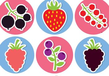Sticker Berries Vector Pack - Free vector #147289