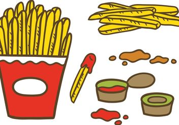 Fries with Sauce Vectors - Free vector #147369